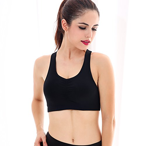 ny No Steel Ring Mouvement Underwear Soutien-gorge Shock Yoga Fitness Sport Bra Noir