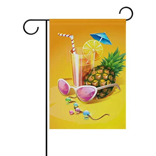 ASKYE Garden Flag Decorative Summer Cocktail Pineapple Polyester Double Sided Printing Fade Proof for Outdoor Courtyards Garden(Size: 28inch W X 40inch H) - Monogram Cocktail
