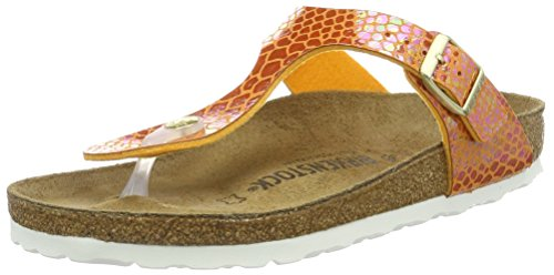 BIRKENSTOCK Damen Gizeh Birko-Flor Zehentrenner Orange (Shiny Snake Orange)