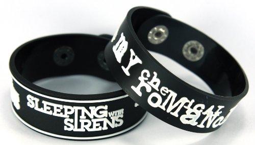 Sleeping with Sirens My Chemical Romance 2pcs nuevo. Pulsera Wrist Band 2x 97A52