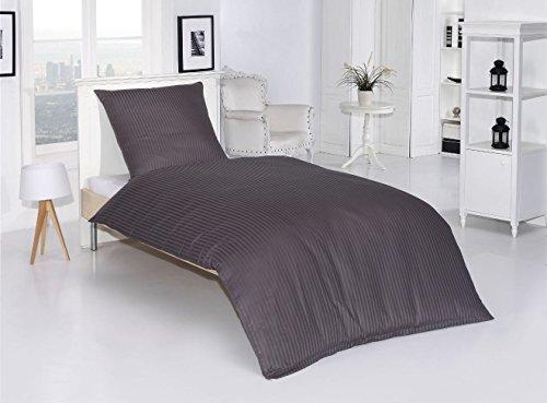 2tlg Baumwolle Damast Bettwäsche Set Hochwertige Mako Satin Qualität Einfarbig Uni Grau Anthrazit Übergröße 155x220cm Neu mit RV