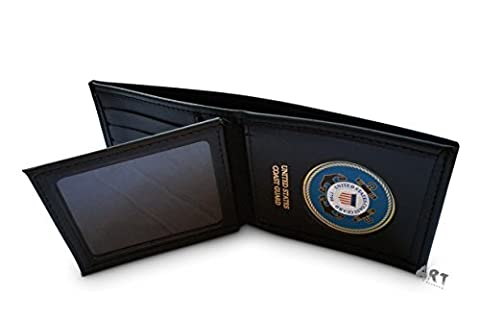 Officially Licensed United States Coast Guard, Genuine Leather Wallet ( Bilfold with Credit Card Slots )