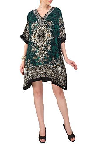 Miss Lavish London Donne Kaftan Tunica chimono Stile più Dimensione Vestito per Loungewear Vacanze Indumenti da Notte & Ogni Giorno Copertina su Top [Verde]