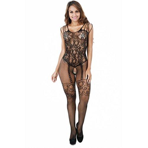 feiXIANG Damen spitzen kleid body püppchen nachtwäsche unterwäsche (freie Größe, Schwarz) (Chemise Floral Stretch)