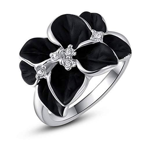 WZYMNJZ Eleganter Rose Flower Ring Mit Klarem Cz Ring Original Silber Schmuck Verlobungsring - Cz Alle Ringe Herren