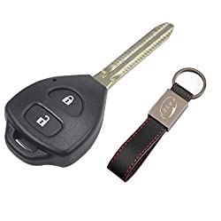 Schlüssel Gehäuse Fernbedienung für Toyota 2 Tasten Autoschlüssel Funkschlüssel Yaris Corolla Avensis Venza Rav4 Prado mit Leder Schlüsselanhänger KASER
