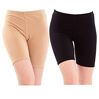 Pixie® Biowashed 220 GSM Cotton Lycra Cycling Shorts for Girls/Women / Ladies Combo (Pack of 2) Beige and Black - Free Size