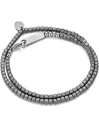 Italienisches Herren Armband aus Hematit Natur Steinen in grau. Luca Barra DBA898. Mit Edelstahl Verschluss