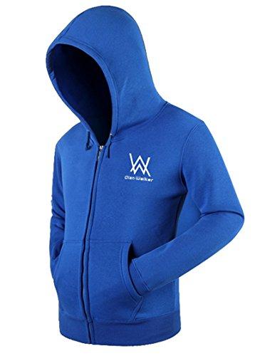 BOODUN Vlies Hoodie Jacke Männerzip Up Hoodies Sweatshirt Drawatring Blau L (Zip-up Hoodie Sweatshirt Männer)