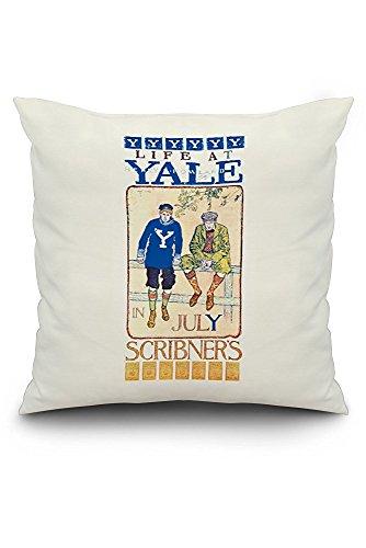 Scribner's - Yale Vintage Poster (artist: Orson Byron Lowell) USA c. 1897 (20x20 Spun Polyester Pillow Case, Black Border)