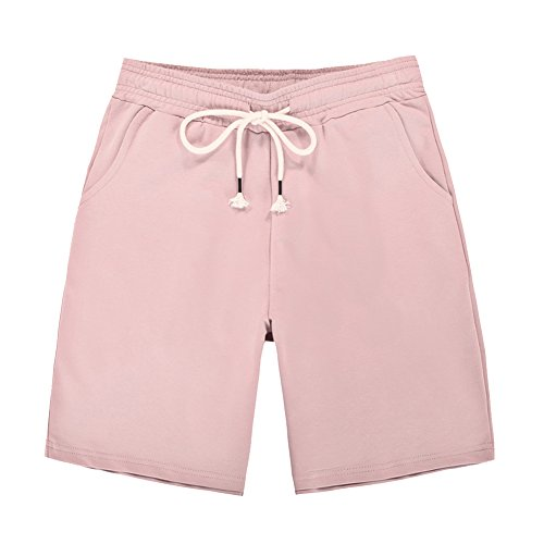 Damen Shorts Kurze Elastische Taille Stoffhose Sport Freizeit Lose Elegant Pants Pink
