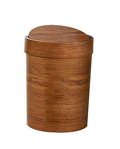 XXFFHAbfalleimer Mülleimer Holz Korn Rundeeimer Schütteln Toilette Küche Wohnzimmereimer Kreative Kunststoffeimer Abfalleimer Abfallsammler, B , M