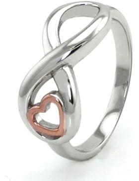 Sterling Silber Unendlichkeit Ring w / Roségold Herz