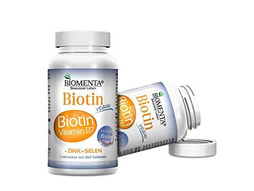 Biomenta® BIOTIN hochdosiert 12.500 µg + Zink + Selen - 365 VEGANE Biotin-Tabletten - für gesunde Haare, Haut und Nägel | Jahreskur