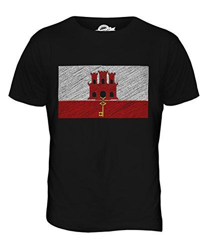 CandyMix Gibraltar Kritzelte Flagge Herren T Shirt Schwarz