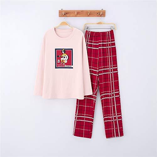 Weibliches Kostüm Schaf - Damen Baumwolle Schlafanzug Pyjama Set Lang Zweiteilige,Paar Baumwolle Langarm Männer und Frauen Anzug zu Hause Service A-5 weiblich XXL