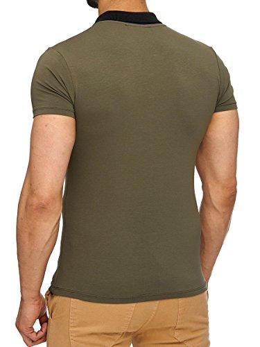 L.A.B 1928 Herren Polo Shirt T-Shirt Kurzarm Poloshirt Kragen Polohemd Basic Khaki