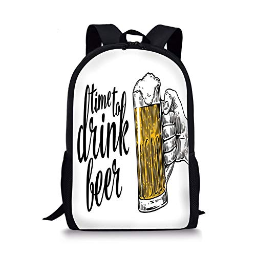 Toast Wallet (School Bags Lifestyle Decor,Time to Drink Beer Quote with Man Hand Holding The Mug Toast Illustration,Yellow Black for Boys&Girls Mens Sport Daypack)