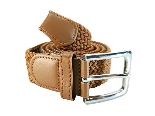 Cinturón trenzado elástico y extensible cinturones con hebilla para hombre y mujer. Colores Negro Azul Marrón Blanco Rosa Granate (Marrón, 120cm)