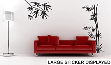 Chinese Bamboo Tree Wall Art Vinyl Stickers   Black   Large Pack Size 150cm  X 95cm