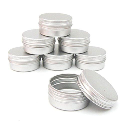 SODIAL 12 Stueck 60 ml Silber Metalldosen leeren Slip Dia Runde Container mit festen versiegelten verdrehen Abdeckung