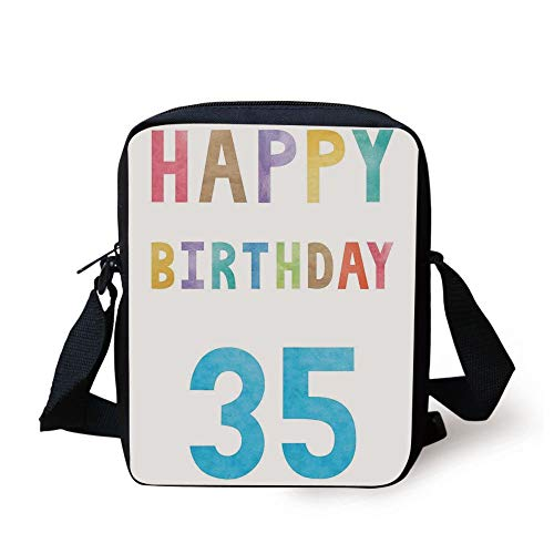 35th Birthday Decorations,Greeting Text in Pastel Watercolors Happy Celebration Theme Print,Multicolor Print Kids Crossbody Messenger Bag Purse