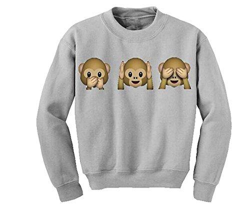 Las mujeres del mono animal Emoji impreso alrededor del cuello del suéter del otoño de manga larga blusa superior de la camiseta