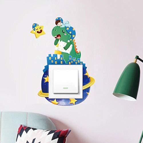 3 Stücke Dreidimensionale Bump 3D Schalter Aufkleber Regenbogen Pferd Dinosaurier Kaninchen Sockel Schutz Dekorative Set Pu Leder Weichgummi -