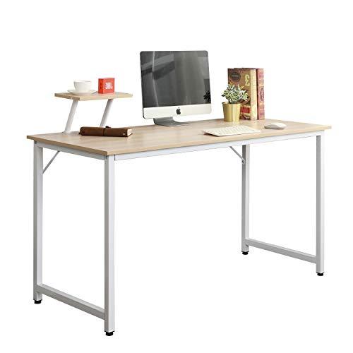 sogesfurniture Kompakt Schreibtisch Computertisch Esstisch Arbeitstisch Bürotisch für PC und Laptop, aus Holz und Metall, BHT ca.100x50x75cm, Weiß Ahorn WK-JK100-MO-BH -