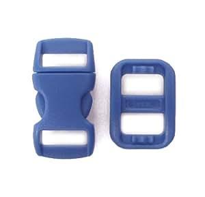 25 Stk Sicherheits-Klickverschluss, Blau, mit 25 passenden Schiebern (Triglide Versteller). Ideal für Katzenhalsbänder oder Kinderarmbänder. Sie sind für 10 mm breites Band geeignet.