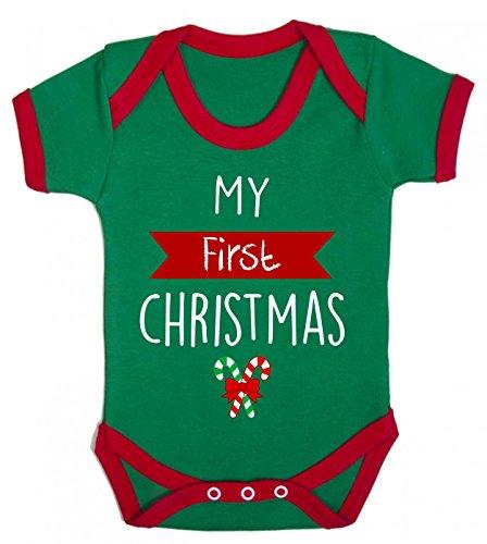 Bullshirt 's My First Christmas Kontrast Strampler grün/rot -