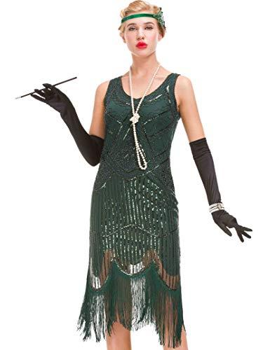 Robe Vintage des années 1920 pour Femme - Robe Great Gatsby à Franges (Vert foncé, XL = UK 16 / EU 44 (Poitrine 40.2'))