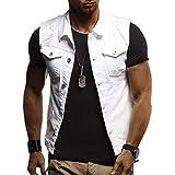 Fuxitoggo Ausverkauf Herren Herbst Winter Destroyed Vintage Jeansjacke Weste Bluse Weste Top (Farbe : Weiß, Größe : CN 2XLUK 18)