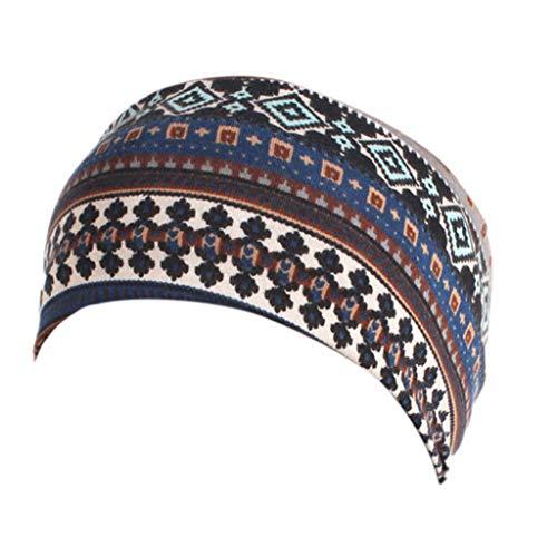 Lergo Damen Bohemian Baumwolle Stirnband Turban Mädchen breit elastisch Haarband Bandana geknotet, K