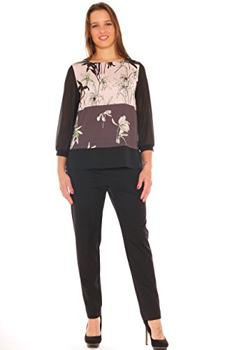Pantalone sigaretta donna in jersey contenitivo taglia morbida Nero