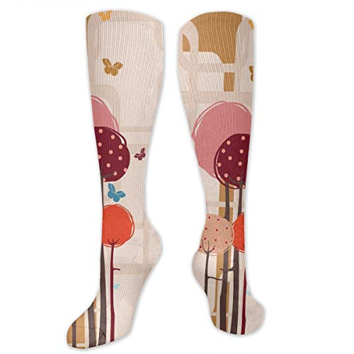 Unisex Highly Elastic Comfortable Knee High Length Tube Socks,Colorful Trees And Butterflies Round Edged Squares Funky Spring,Compression Socks Boost Stamina,Ruby Dried Rose Amber Scarlet Scarlet Fishnet