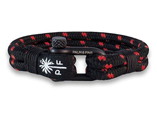 """PALM & FINS \""""Double Six\"""" Herren-Armband Schwarz/Rot aus hochwertigem Nylon und rostfreiem Edelstahl (19, Schwarz)"""