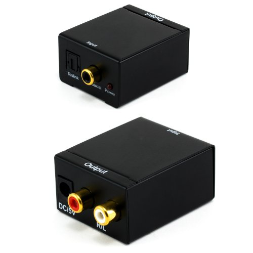 CSL - Convertidor de audio digital a analógico | Convertidor/decodificador | Entretenimiento en casa | Nuevo modelo| Noise Reduction Design | Conector SPDIF coaxial /Toslink óptico digital a audio compuesto analógico derecha / izquierda | Totalmente metálico | Negro
