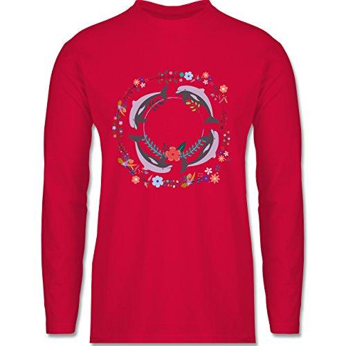 Shirtracer Vintage - Vintage Delfine Blumen Dolphin Flowers - Herren  Langarmshirt Rot. Das langärmelige Shirt ...