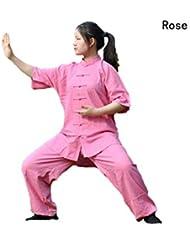 ZOOBOO Unisex lino algodón Tai Chi Kung Fu del Uniforme trajes, unisex, color rosa (b), tamaño small