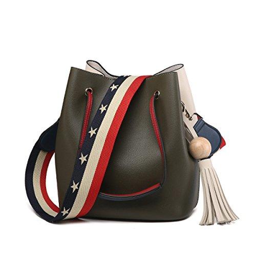 tasche Wasser Eimer Tasche Crossbody Handtasche Kunstleder Quaste Einfach,Fightgreen-OneSize (Eimer Crossbody Handtasche)