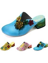 gracosy Zapatillas de Cuero para Mujer, Sandalias Block Heel Mule Zapatos para Mujer de Verano Sandalias Planas…