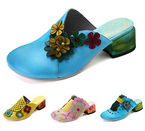 gracosy Damen Pantoletten, Sommer Leder Sandalen Leder Vintage Slipper Clogs Espadrilles Bequem Anti-Rutsch Bunte Blume Hausschuhe Pink 37 -