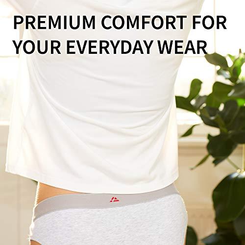 DANISH ENDURANCE Damen Bikini Slip aus Bio-Baumwolle, 6 Pack, Schwarz, Grau, Blau, Unterhose (Schwarz, Medium) - 4