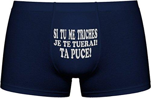 Les boxers pour hommes | Si tu me triches, je te tuerai! Ta puce | Cadeau anniversaire unique et drôle. Article de nouveauté. Idée cadeau