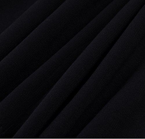 HOMEYEE Femmes élégant slant cou manche de coupe mince bodycon ceinture usure formelle pour travailler Robe B350 Noir
