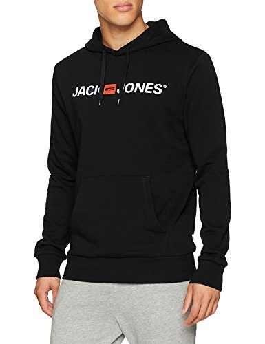 JACK & JONES Herren Kapuzenpullover JJECORP Logo Sweat Hood NOOS, Schwarz (Black Detail:Reg Fit), X-Large