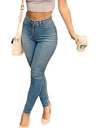 La Mujer Casual JEANS De Cintura Alta Pantalones De Dril De Algodon Elastico Largo