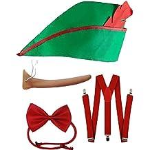 Sofias Closet World Book Day Fancy Dress Costume Pinocchio Red Green Hat Braces Bow Tie Set