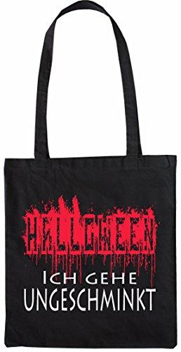 hopping Tasche Beutel Halloween - Ich gehe ungeschminkt verkleiden Witzig Jutebeutel natur Öko Schwarz (Schwarze Halloween Kostüme 2017)